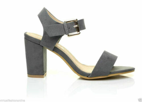NEW LADIES WOMENS SUMMER ANKLE STRAPPY MID BLOCK HEEL PEEP TOE SANDALS SHOES 3-8