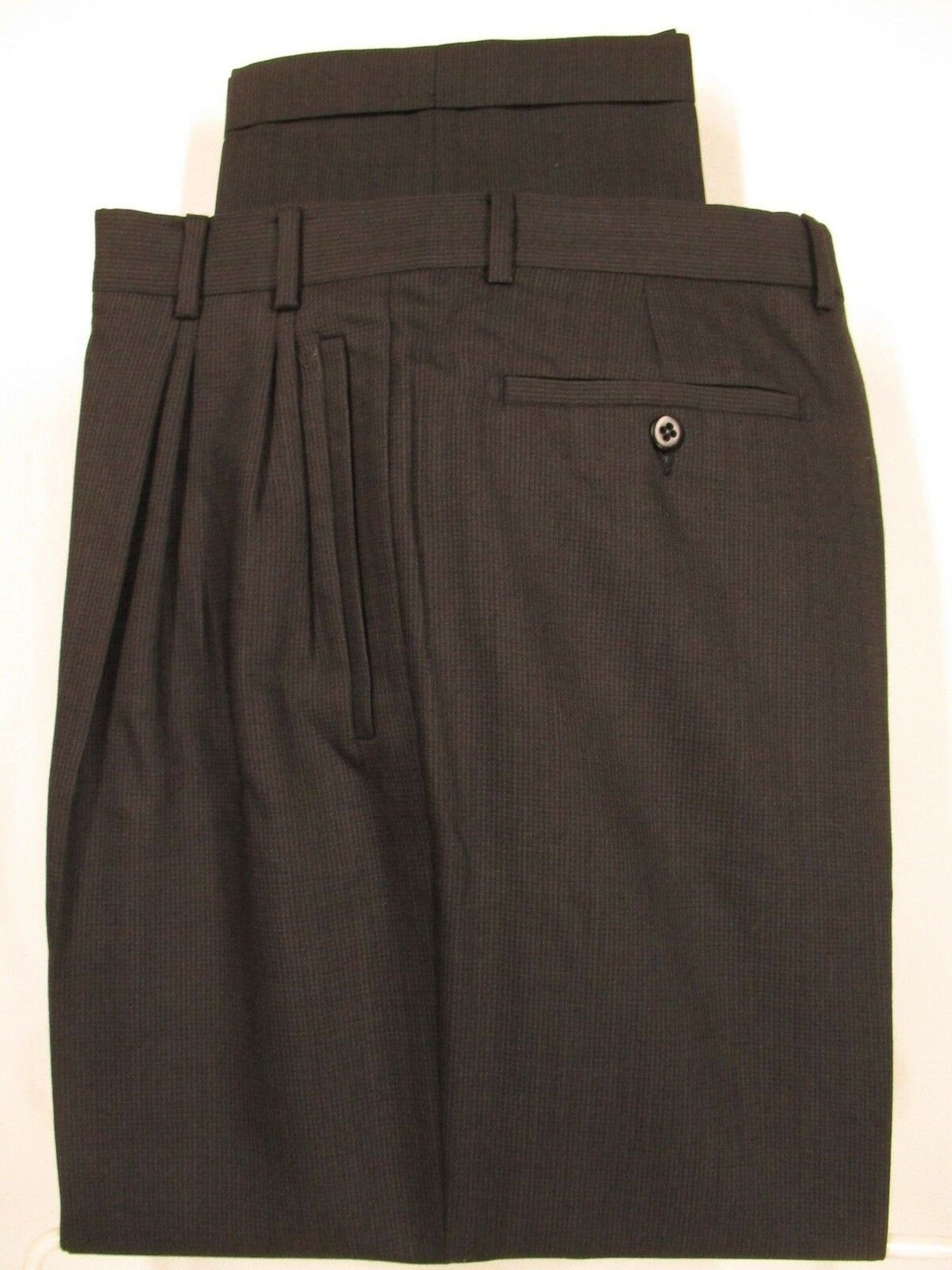 Zanella Jesse Mens Charcoal Pleated Wool Dress Pants size 35 34x29