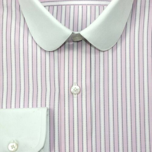 Peaky Blinders Pink stripes Mens Penny collar shirts Round Club Grandad Gents