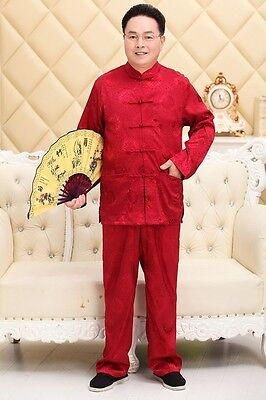 M L XL 2XL 3XL Handmade Chinese Men/'s Silk Satin Kung Fu Suit Pajamas BLUE SZ