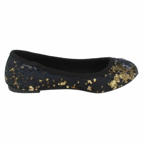 Spot On H2R186 Girls Black /& Gold Sequin Slip On Ballerina Shoes R36A