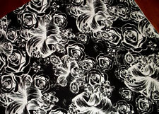 Skull Rose Black White Cotton Lycra Stretch Knit Fabric By The Yard