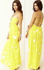 e34308dce70  129 INDAH Smocked Yellow White Strappy Strapless Star Print Maxi Dress M  Cutout