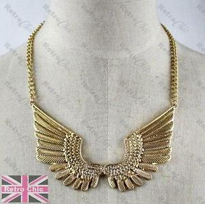 f5759cc2f1c5 BIG ANGEL WINGS NECKLACE feather METAL COLLAR vintage gold antique ...
