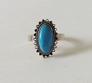925-STERLING-SILVER-HAND-CRAFTED-BLUE-TURQUOISE-RING-size-N