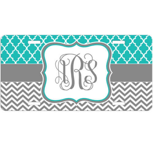 Personalized Monogrammed Car Tag License Plate Grey Chevron Teal Monogram