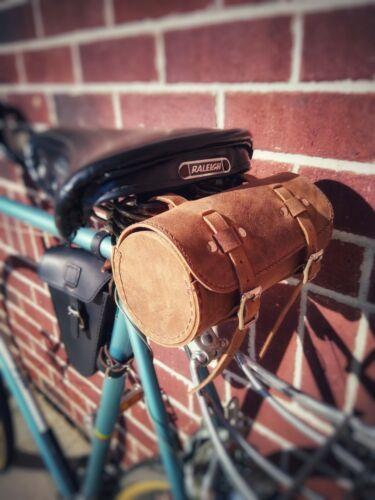 Genuine Leather Bicycle Saddle Handlebar Phone Utility Bag