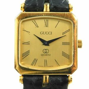 GUCCI SHELLY GOLD WOMEN'S VINTAGE SWISS MADE WATCH LEATHER BELT