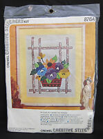 Creative Stitchery Crewel Embroidery Kit 876a Basket Of Pansies In Package
