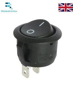 New-20mm-Diameter-23mm-Lip-Small-Round-Rocker-Switch-Black-2-Pin-ON-OFF