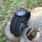 Outdoor Survival Camo Paracord Bracelet Flint Fire Starter Compass Whistle Gear