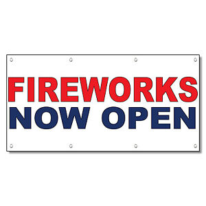 Fireworks Coming Soon Red Blue 13 Oz Vinyl Banner Sign With Grommets