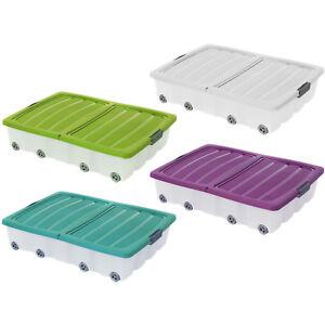 XXL-60-L-Unterbettkommode-Unterbettbox-Rollen-Box-Spielzeugkiste-Rollbox-Deckel
