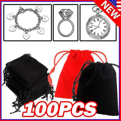 100 Black Velvet Drawstring Velour Pouch Jewelry Baggie Ring Gift Bag Pouch 9*7
