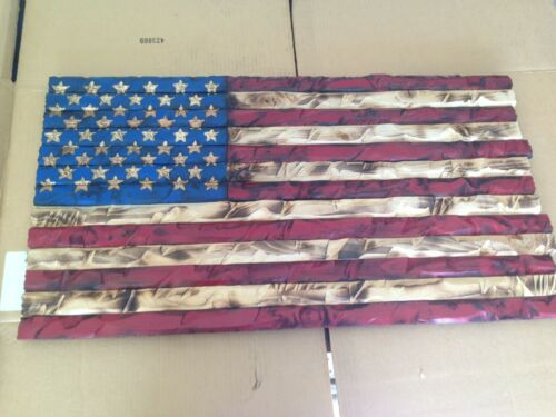 37x19 Hand-Carved Red//Blue Rustic Patriotic American Wooden Flag