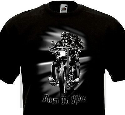 T-shirt Born to Ride Biker Motorcycle Skull Moto Rebel Bobber Harley Indian