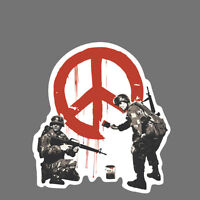 Banksy Sticker Decal vinyl graffiti street art soldiers painting peace sign obey