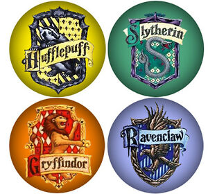 Image Is Loading Set Of Four Harry Potter House Badges Hogwarts