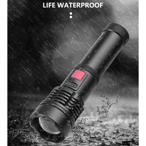 5 Mode Zoomable Torch XHP50 LED Flashlight Rechargeable Tactical  Camping Light