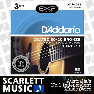 3 Pack D/'Addario EXP11-3D Acoustic Guitar Strings Coated 80//20 Bronze Sets