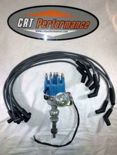 FORD WINDSOR 351W V8 SMALL CAP HEI Distributor BLUE SPARK PLUG WIRES 8MM