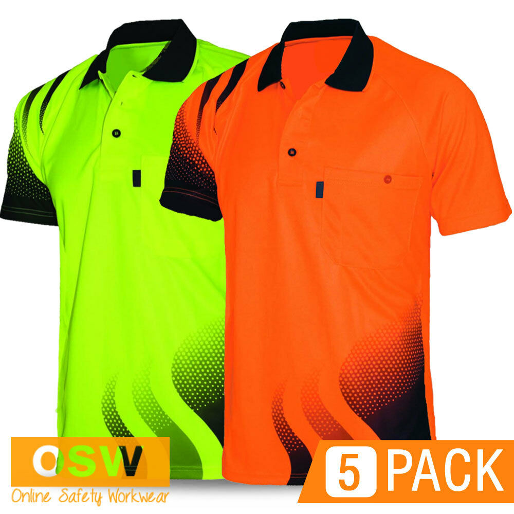 5 X Hi Vis trabajo fresco seco aireado ola ola ola tradies Camisa Polo Naranja/Amarillo 1af40b