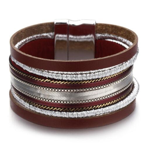 Fashion Femmes multicouche en cuir strass perles Aimant Bracelet Wrap Bracelet