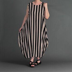 timeless design fb463 c1b90 Details zu ♦ AKH Ballon-Kleid, lang Gr. 40,42,44,46/48 schlamm-schwarz  Streifen ♦