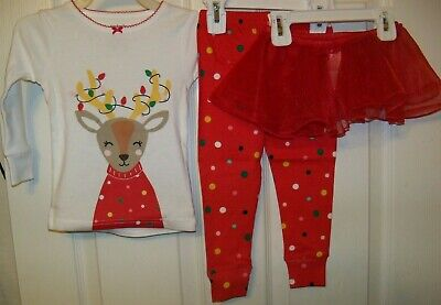 NWT 2 Christmas Outfit 0-3 mon Disney Overall Reindeer