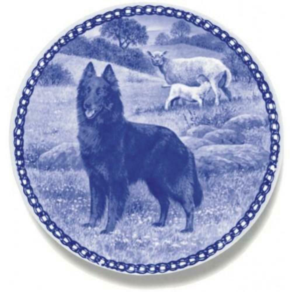 Belgian Groenendael  Dog Plate made in Denmark from the finest European Porcela