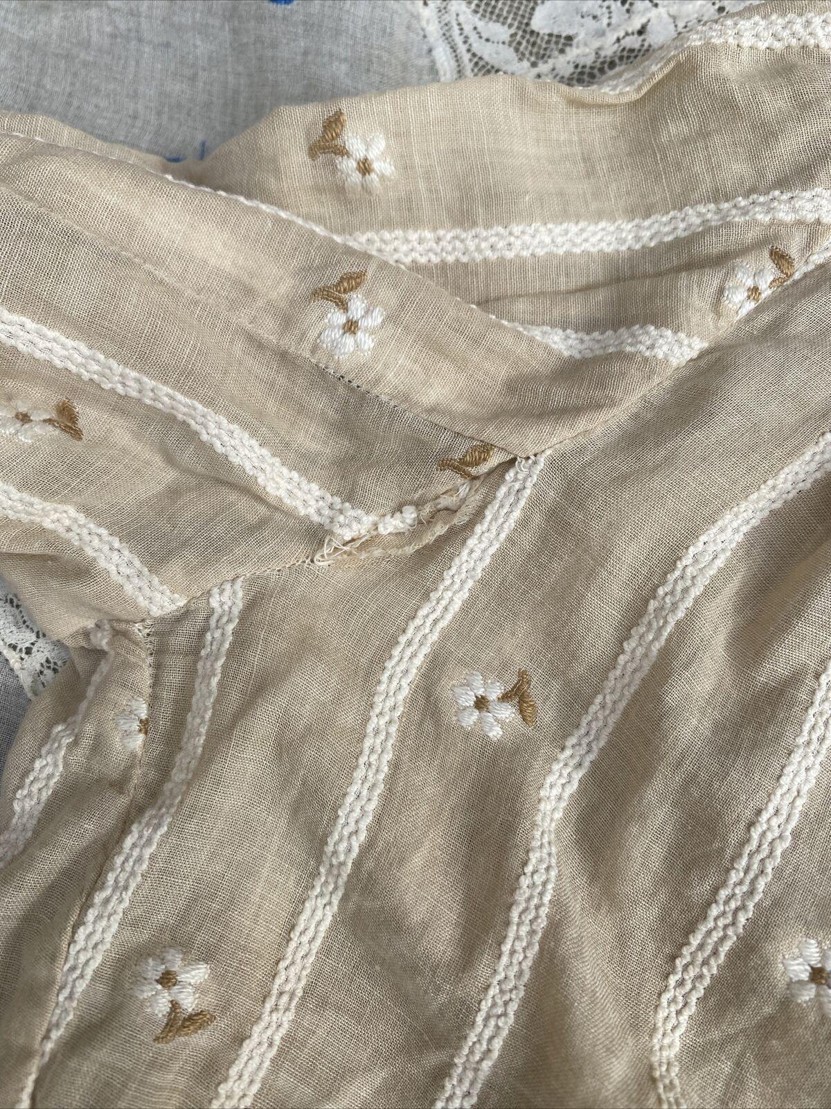 Antique Edwardian Ecru Cotton Blouse Top Embroide… - image 12