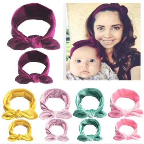 2X Women kids girls mother daughter rabbit bow knot turban Headband hair band  X