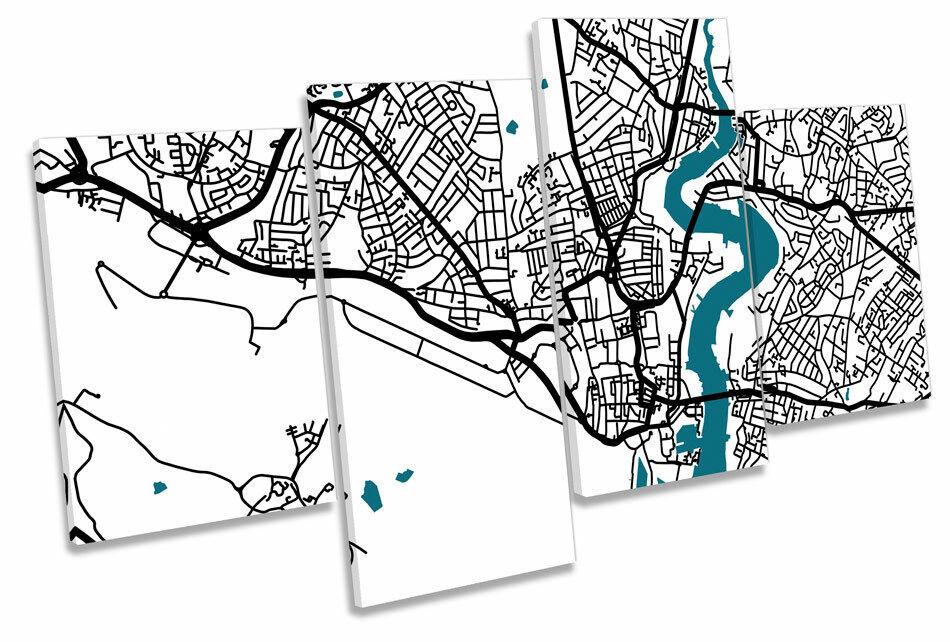 Southampton Map Stadt Minimalistic Modern MULTI CANVAS Wand Kunst Bild Drucken