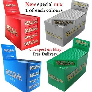 RIZLA-Regular-Genuine-RED-GREEN-SILVER-BLUE-WHITE-PINK-Cigarette-Rolling-Papers