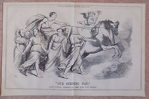 Punch-Magazine-Antique-Book-Print-1874-Our-Opening-Day-Guido-039-s-Aurora-16x10-Inch