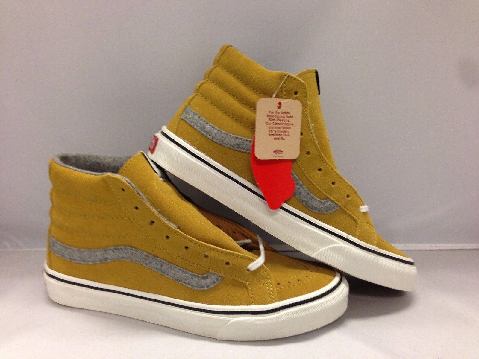 Vans Men's shoes  Sk8-Hi Slim   -- (Vintage Sued)''--Amber gold