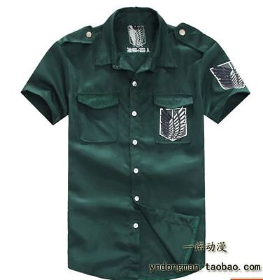 green Attack on titan / shingeki no kyojin Investigation Jacket T-shirt Coat NEW