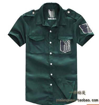 green Attack on titan / shingeki no kyojin Investigation Jacket T-shirt Coat NEW