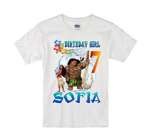 Image Is Loading Moana Birthday Shirt Personalized Custom Name Age Kids