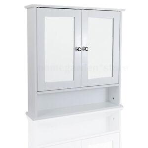 Double Mirror Door Bathroom Cabinet Wooden Indoor Wall Mountable Shelf UK STOCK