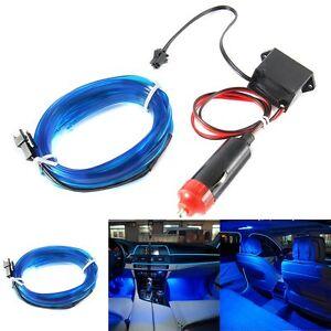 Auto-Azul-LED-El-Cable-Luz-de-tira-de-frio-lamparas-de-decoracion-interior-flexible-atmosfera