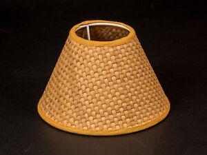 Lampenschirm-Rund-15-cm-gelb-Rattan-Optik-beige-E14-rustikal-Kronleuchter