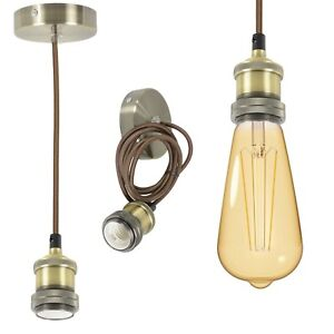 Brass-Vintage-Hanging-Braided-Pendant-Holder-E27-LED-Squirrel-cage-bulb-lamp
