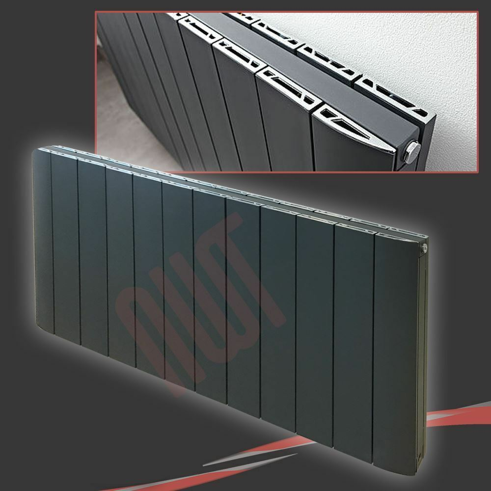 1124mm(w) x 600mm(h)  Flow  Anthracite Horizontal Aluminium Radiator - 5736 BTU