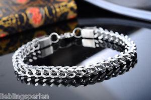 Massiv-Edelstahl-Punk-Herren-Armkette-Zopfkette-Panzerkette-Antiksilber-22cm-L-P