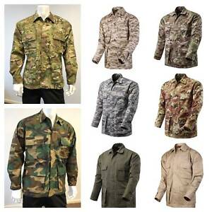 Mens-Battle-Dress-Uniform-BDU-Shirt-Camouflage-Tactical-Top-Jacket-size-XS-2XL