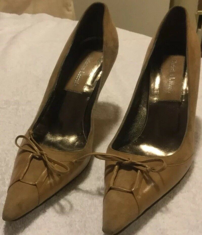 Christian Lacroix Spritney Tan Suede And Leather Heels Retail 895.00 Worn 2X.