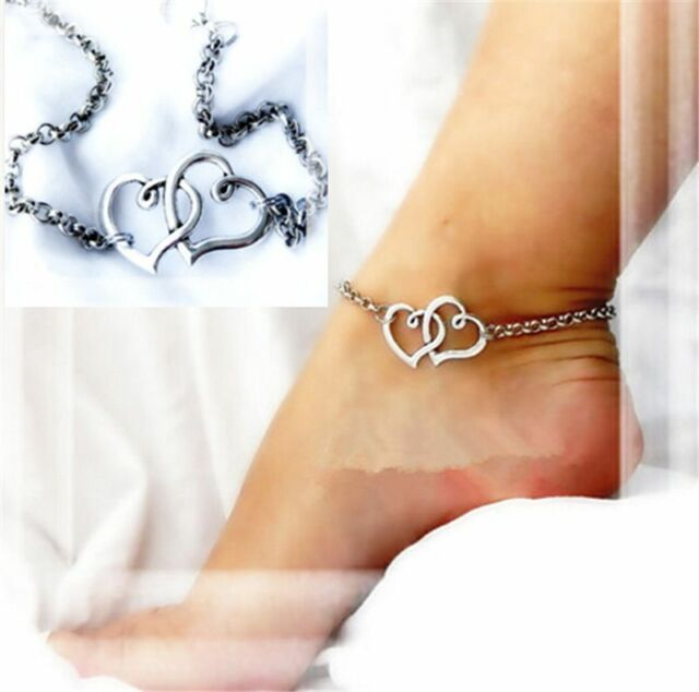 Fashion Women Charm Double Heart Anklet Ankle Bracelet Sandal foot Beach Jewelry