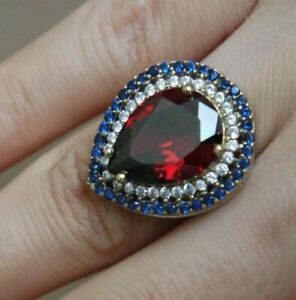Turkish-Handmade-Jewelry-Sterling-Silver-925-Ruby-Ring-Size-6-7-8-9