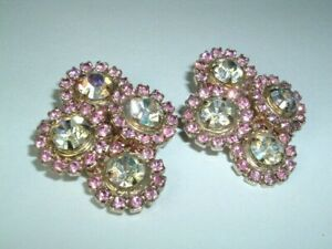 Vintage Large Pink Moonstone Rhinestone Earrings Clip on
